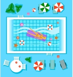 Swimming Pool in Top View with Outdoor Element vector