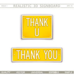 thank you signboard stylized car license plate vector image