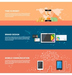 TIme is money branding communication concept set vector