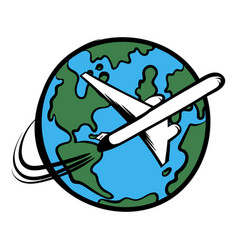 traveling a plane icon cartoon vector image
