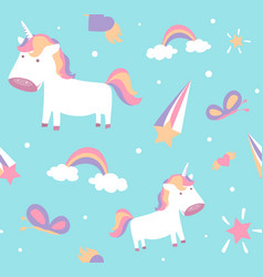 Unicorn pattern cute seamless design with baby vector