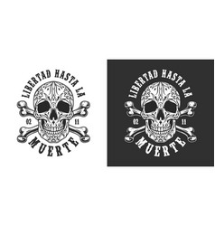 vintage mexican day dead emblem vector image
