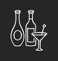 wine and spirits chalk white icon on black vector image