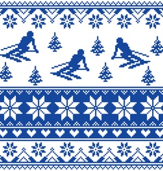 Winter knit pattern - man skiing - blue pattern vector