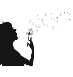 woman blowing dandelion vector image