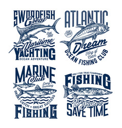 yachting and marine fishing club t-shirt prints vector image