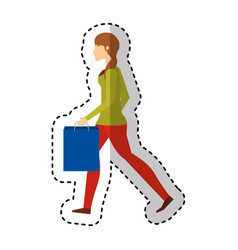 young woman with shopping bag vector image