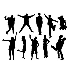 Active people silhouettes collection vector image