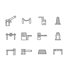 Barriers black line icons set vector image vector image