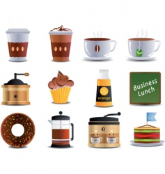 cafe and bistro icons vector image vector image