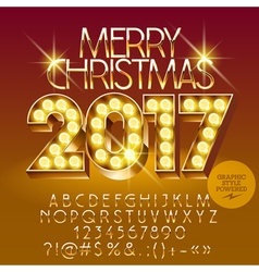 Chic light up Merry Christmas 2017 greeting card vector image