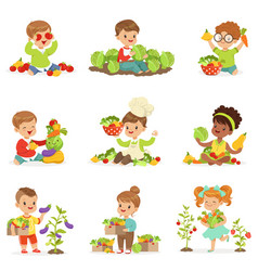 cute little children playing gathering and vector image vector image