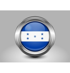 Flag of Honduras Metal and Glass Round Icon vector image