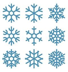 Set of Nine Snowflakes thin line ftat design vector image vector image
