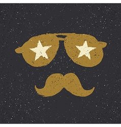 Sunglasses with stars and moustache Tee print vector image vector image