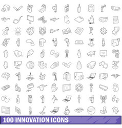 100 innovation icons set outline style vector image