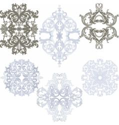 Damask pattern elements set vector