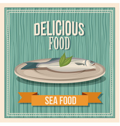 delicious food fish seafood poster wooden vector image