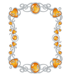 fantasy jewel frame template silver and ember vector image