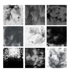 Grunge halftone background set Dots vector image vector image