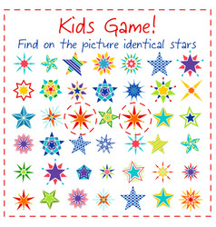 kids game with colorful cartoon stars vector image vector image