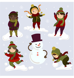 kids playing outdoors with snowballs and snowman vector image vector image