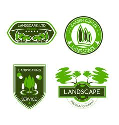 landscape design studio label set vector image vector image