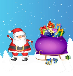 Santa with bag of gifts vector image vector image