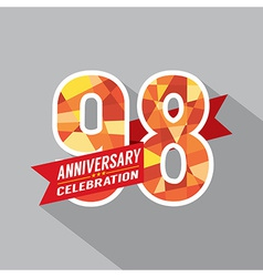 98th Years Anniversary Celebration Design vector image vector image