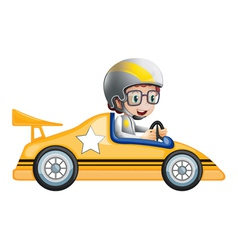 A girl in her yellow racing car vector image