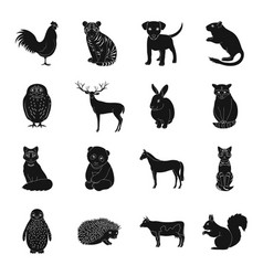 deer tiger cow cat rooster owl and other vector image