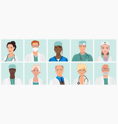 doctors and nurses avatars set medical staff vector image
