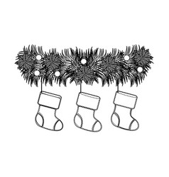 figure fir with christmas boots icon vector image vector image