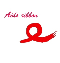 Hand-drawn ribbon symbolizing AIDS vector image vector image