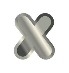 Letter x steel font metal alphabet sign iron abc vector