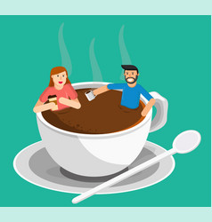 Meeting coffee woman and man vector