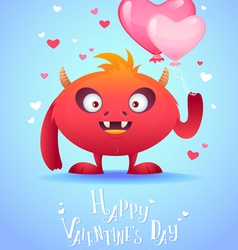 Cute cartoon monster in love holding a pink heart vector image vector image