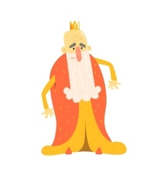 King with long beard in red mantle standing fairy vector