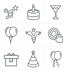 Line Icons Style party Icons Set Design vector image