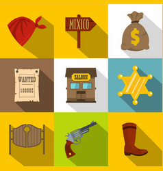 sheriff icons set flat style vector image vector image