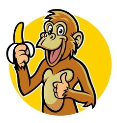 smiling monkey with banana vector image vector image