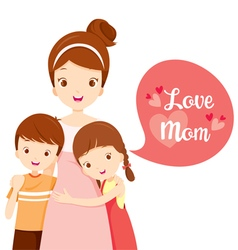 Son And Daughter Hugging Their Mother vector image vector image