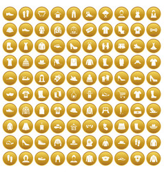100 rags icons set gold vector