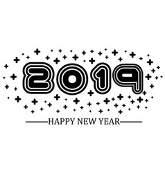 2019 happy new year black simple style vector image