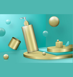 3d scene with step podium and pump bottle vector image