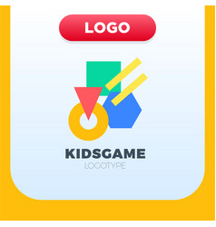 abstract geometric kids logo with different color vector image