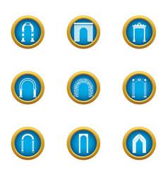 aisle icons set flat style vector image