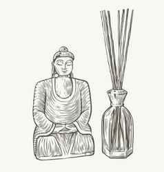 Aroma diffuser with sticks sketch aromatherapy vector