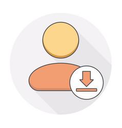 Arrow down download user icon vector