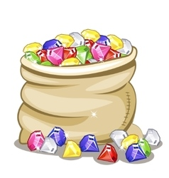 Bag full of multi-colored stones Diamonds vector image
